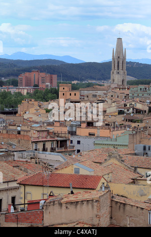 Collegiate Church of Sant Feliu, Girona, Catalonia, Spain - Stock Photo