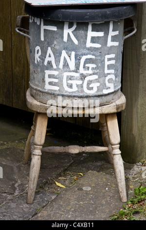 Free range eggs for sale, Bolton by Bowland, Forest of Bowland, Lancashire, England,UK - Stock Photo