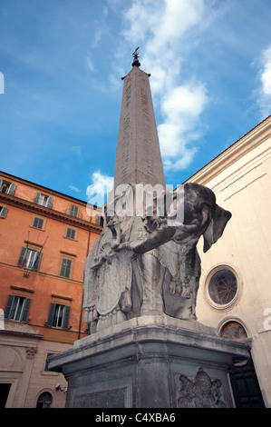 Marble statue of an elephant by Bernini, supporting an Egyptian obelisk, displayed at in Piazza della Minerva, Rome. - Stock Photo