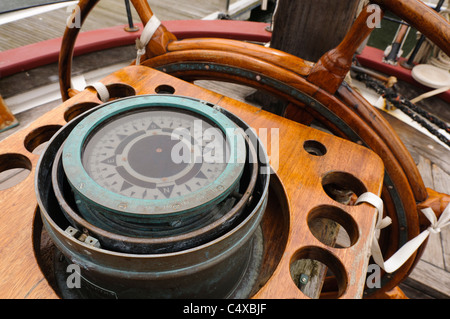 Ship's compass and wheel - Stock Photo