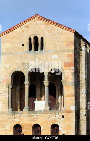 Church of St Mary at Mount Naranco (UNESCO World Heritage Site), near Oviedo, Asturias, Spain - Stock Photo