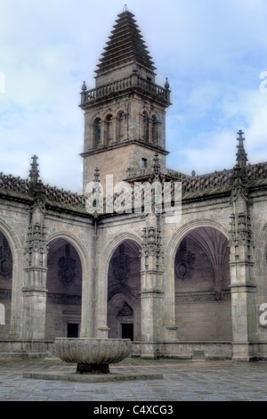 Tower in cloister of cathedral, Santiago de Compostela, Galicia, Spain - Stock Photo