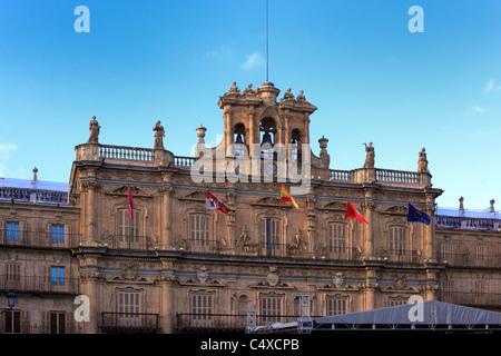 The city hall, Plaza Mayor, Salamanca, Castile and Leon, Spain