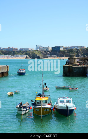 Fishing boats in the harbour at Newquay, Cornwall, UK - Stock Photo