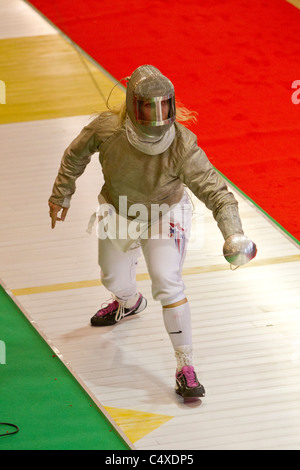 Mariel Zagunis (USA) competing at the 2011 New York Saber World Cup. - Stock Photo