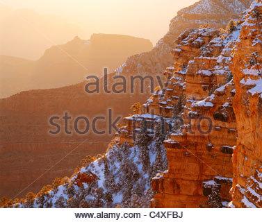 Sunrise, winter, from near Yavapai Point. Grand Canyon National Park, Arizona. - Stock Photo