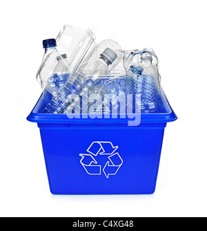 Recycling box filled with clear plastic containers isolated on white - Stock Photo