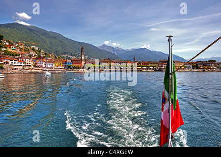 View of the promenade of Ascona in the Ticino from a boat - Stock Photo