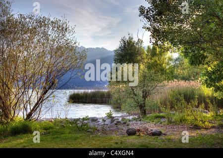 small bay on Lake Maggiore in Ascona in Ticino - Stock Photo