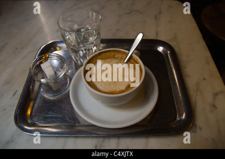Wiener Melange coffee Cafe Leopold Hawelka Innere Stadt central Vienna Austria Europe - Stock Photo