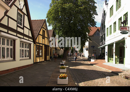 Cobbled street in the Old Town of Warnemunde, Germany - Stock Photo