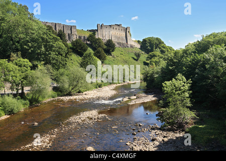 Richmond castle from the river Swale, North Yorkshire, England, UK - Stock Photo