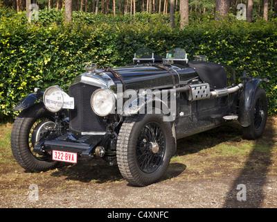 Parked vintage black Bentley racing car 1928 - Stock Photo