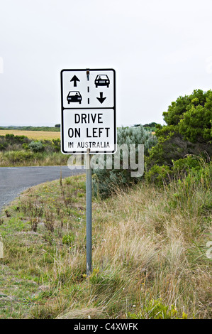 Traffic Warning Sign Advising Drivers to Drive on Left Side of Road near Peterborough Victoria Australia - Stock Photo