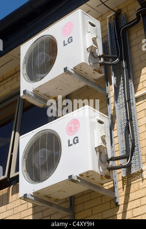 LG branded air conditioning/ventilation/cooling/heat exchange units on Cowbridge leisure centre - Stock Photo