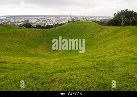 Auckland New Zealand from Mount Eden which consists of dozens of extinct volcanic craters straddling the Auckland - Stock Photo
