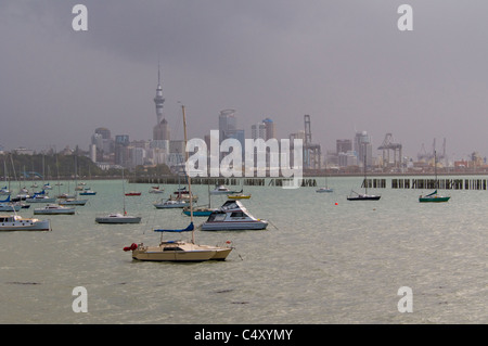 Auckland New Zealand during a winter storm - Stock Photo