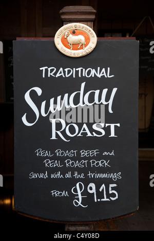 Sunday Roast Menu Sign in London, Pub, England - Stock Photo