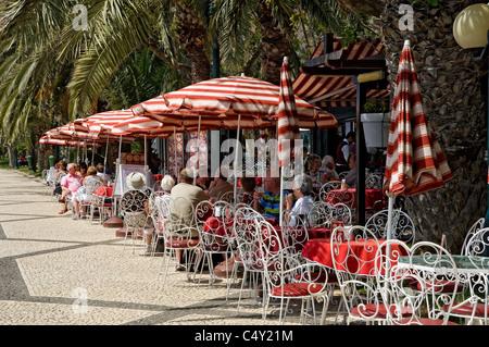 Outdoor cafe on the promenade Funchal Madeira Portugal EU Europe - Stock Photo