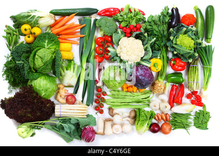 Many different vegetables and salad. Fresh market greens. - Stock Photo