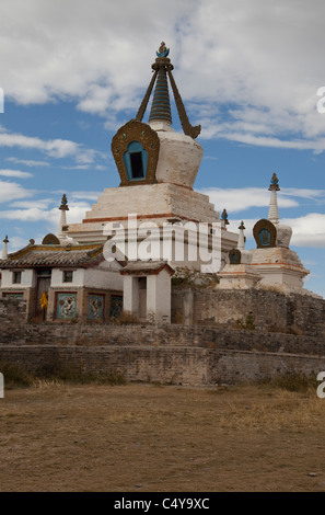Erdene-Zuu Monastery, Mongolia's oldest Buddhist monastery founded in 1586 by Abtai Khan in Orkhon Valley - Stock Photo