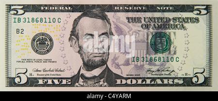 five 5 dollar dollars bill note bills notes - Stock Photo