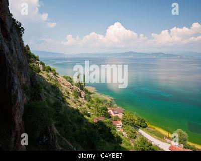 Lake Ohrid, Macedonia, viewed from cliffs above the village of Radožda, near Struga, on its western shore. - Stock Photo