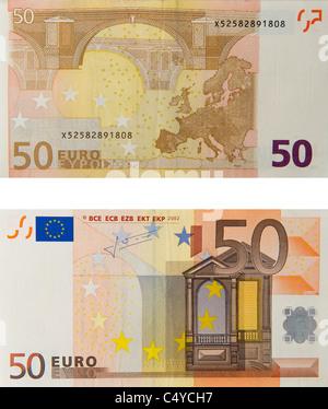 50 fifty euro note euros notes bill - Stock Photo
