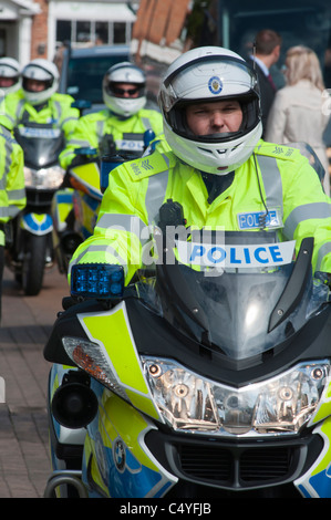 police motorbikes, seen in Stratford upon Avon, UK, at the visit of the Prime minister of China. 2011 - Stock Photo