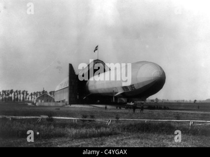 Airship 'Viktoria Luise' and hangar at Oos, Germany - Stock Photo