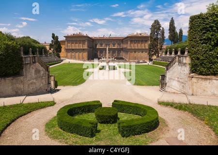 Pitti Palace and the Boboli Gardens, Florence - Stock Photo