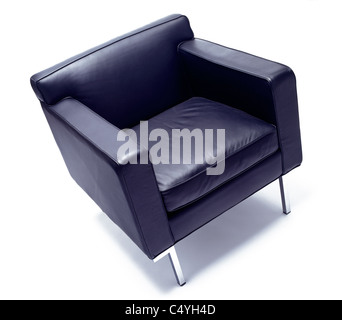 A large comfortable black leather chair - Stock Photo