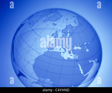 A clear glowing word globe featuring Europe in the center - Stock Photo