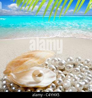 Caribbean pearl inside clam shell over white sand beach in a tropical turquoise sea - Stock Photo