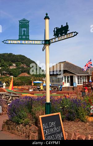 1930s signpost in Minehead Somerset - Stock Photo
