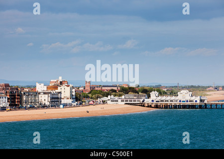 Southsea Pier and Beach, Portsmouth, England UK - Stock Photo