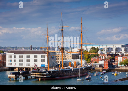 HMS Warrior in Portsmouth Harbour England UK - Stock Photo