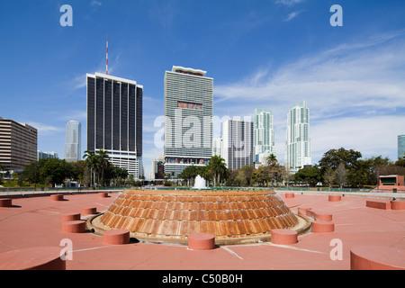 2010 Miami Skyline Bayfront Park, Florida - Stock Photo