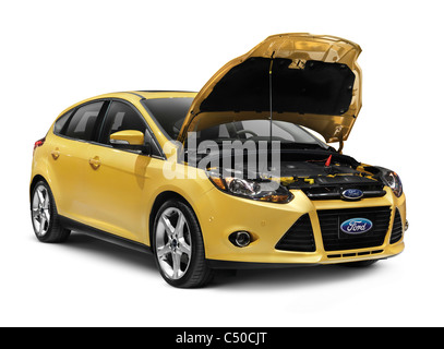 Yellow 2012 Ford Focus. Car with open hood isolated on white background with clipping path. Car service concept. - Stock Photo