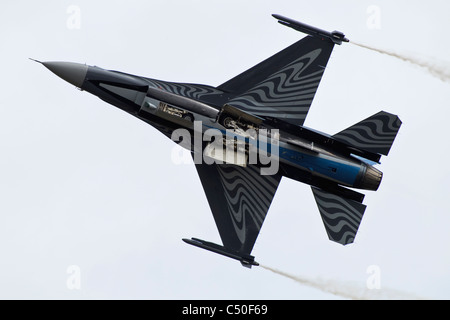 A General Dynamics F16 Fighting falcon - The display aircraft of the Belgian Air Force - Stock Photo
