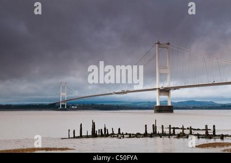 Severn Bridge and River Severn, near Aust, Gloucestershire, UK - Stock Photo