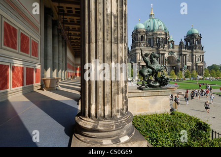 Berlin. Germany. Altes Museum (foreground) & the Berliner Dom / Cathedral, Lustgarten. - Stock Photo