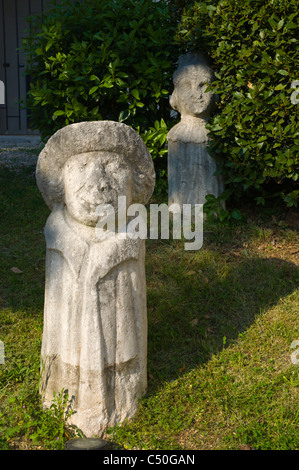 Statues in the garden in front of Maritime and Historical Museum in Rijeka city by Gulf of Kvarner Croatia Europe - Stock Photo