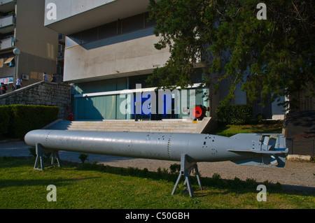 Torpedo TR-53/IV in front of Muzej Grada the City Museum of Rijeka city by Gulf of Kvarner Croatia Europe - Stock Photo