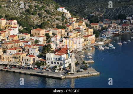 Symi. Dodecanese Islands. Greece. Gialos Harbour. - Stock Photo