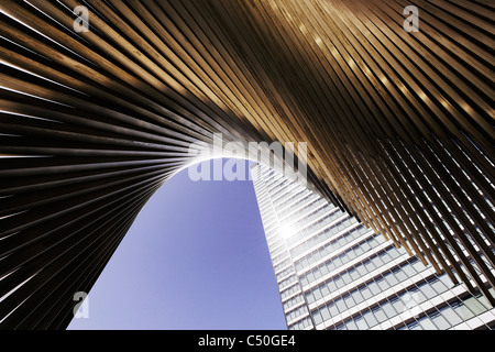 DZ Bank Tower, SELMI- city skyscraper, 142 metres high, creative, urban, Platz der Republik, Frankfurt am Main, - Stock Photo