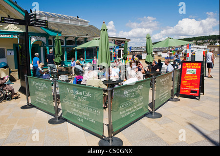 Victorian Cafe on seafront at Weston Super Mare Somerset England UK - Stock Photo
