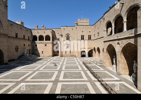 Rhodes. Dodecanese Islands. Greece. Courtyard of the Palace of Grand Masters, Old Town, Rhodes City. - Stock Photo