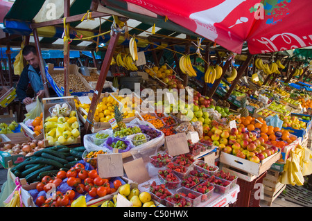 Fruit stall at fresh produce market old town Zadar northern Dalmatia Croatia Europe - Stock Photo