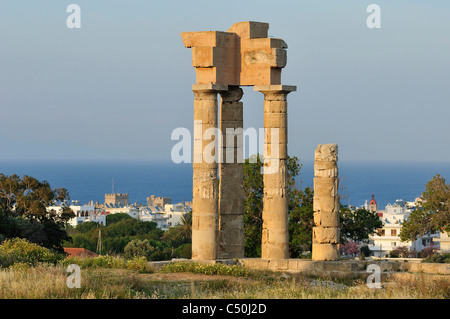 Rhodes. Dodecanese Islands. Greece. Temple of Pythian Apollo in the Acropolis on Mount Smith. - Stock Photo